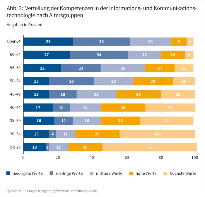 Abbildung 3: Verteilung der Kompetenzen in der Informations- und Kommunikationstechnologie nach Altersgruppem