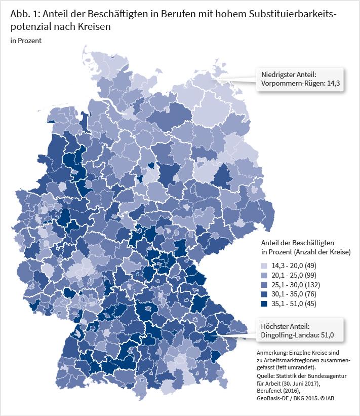 Abbildung 1: Anteil der Beschäftigten in Berufen mit hohem Substituierbarkeitspotenzial nach Kreisen