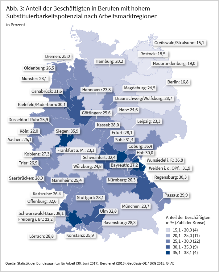 Abbildung 3: Anteil der Beschäftigten in Berufen mit hohem Substituierbarkeitspotenzial nach Arbeitsmarktregionen