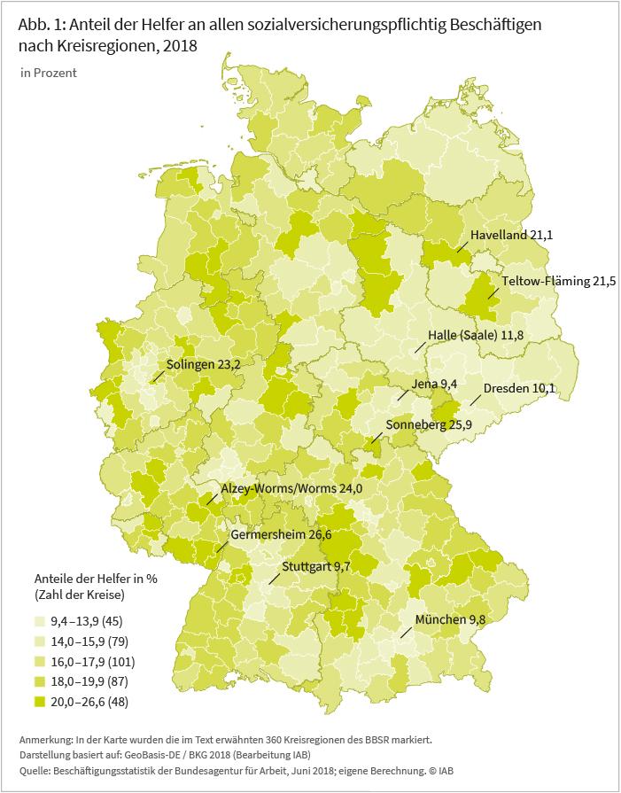 Abbildung 1: Anteil der Helfer an allen sozialversicherungspflichtig Beschäftigten nach Kreisregionen (2018)