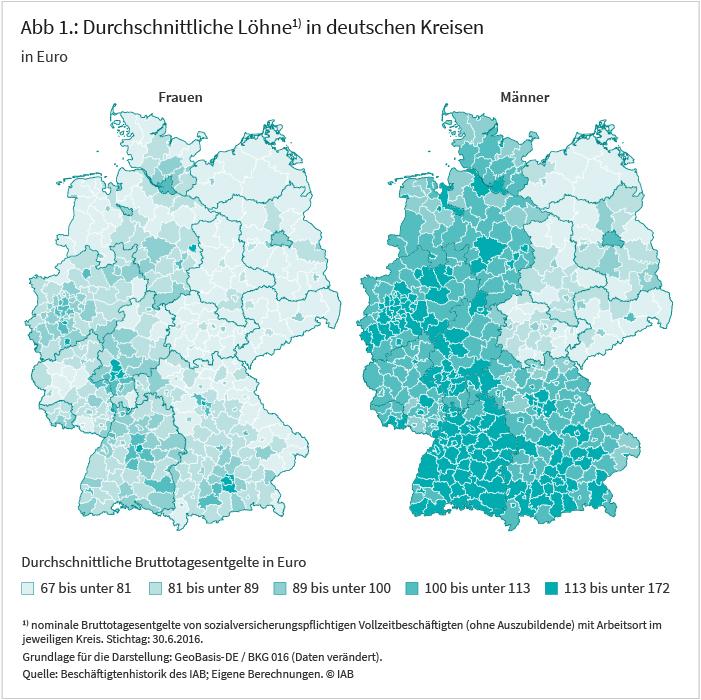 Abbildung 1: Durchschnittliche Löhne in deutschen Kreisen