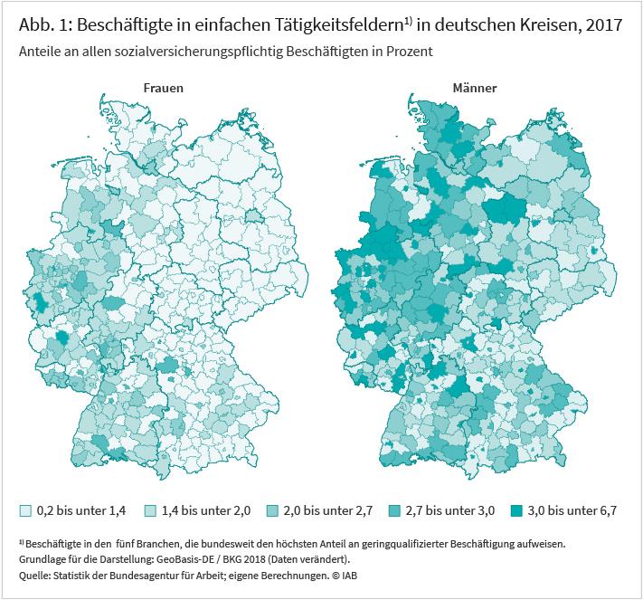 Abb. 1: Beschäftigten in einfachen Tätigkeitsfeldern in deutschen Kreisen, 2017