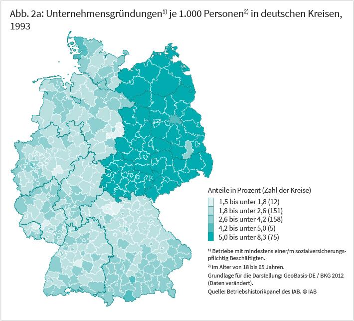 Unternehmensgründungen je 1000 Personen in deutschen Kreisen, 1993