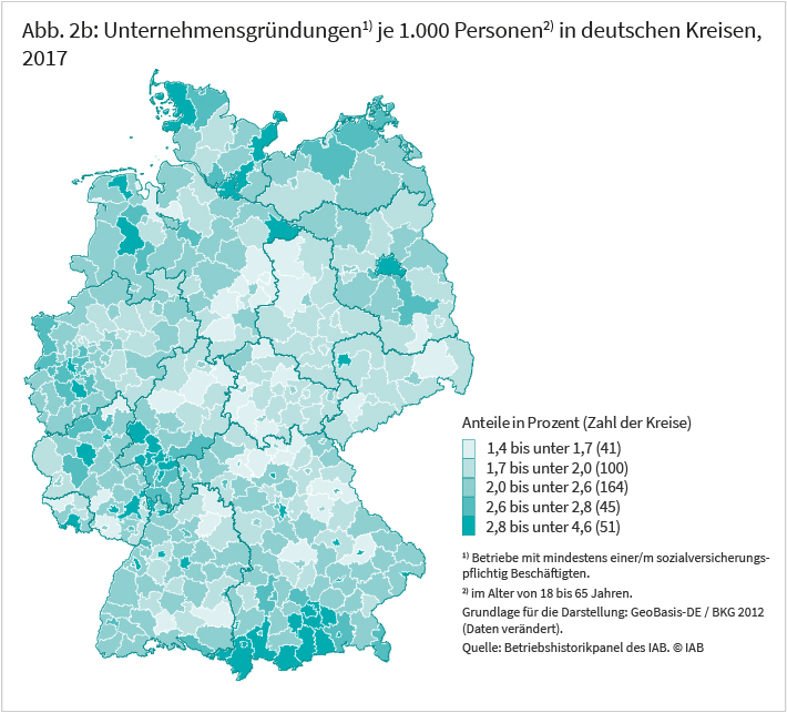 Unternehmensgründungen je 1000 Personen in deutschen Kreisen, 2017